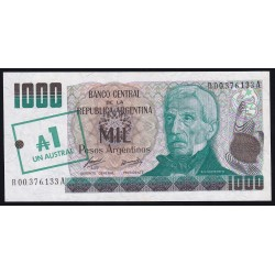 REPOSICION B2702 1000 Pesos Argentinos Resellados a 1 Austral Alonso - Concepcion UNC
