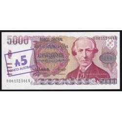 REPOSICION B2704 5000 Pesos Argentinos Resellados a 5 Austral Lopez - Garcia Vazquez EXC