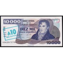 REPOSICION B2714a 10.000 Pesos Argentinos Resellados a 10 Australes Alonso - Concepcion UNC