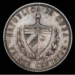 Cuba 20 Centavos 1915 KM13.2 Coarse Reeding Ag VF+