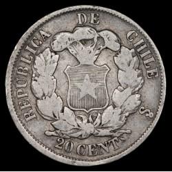 Chile 20 Centavos 1866 KM135 Ag B+