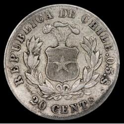 Chile 20 Centavos 1880 KM188.2 Ag MB-