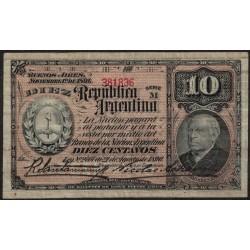 B1015 10 Centavos 1894 Sarmiento Firmas Santamarina - Achaval MB+