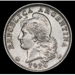 Variante Duplicacion de Cuño Clase I 20 Centavos 1924 CuNi EXC-