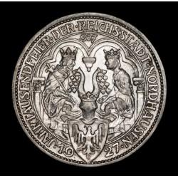 Alemania Weimar 3 Reichmark 1927A Nordhausen KM52 Ag EXC+