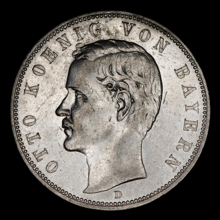 Alemania Bavaria 5 Marcos 1908D KM915 Ag EXC-
