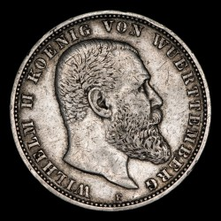 Alemania Wurttemberg 5 Marcos 1898F KM632 Ag MB