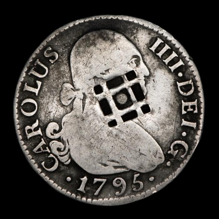 Cuba 2 Reales 1795 Contramarca Lattice KM2 Ag VF-