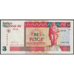 Cuba 3 Pesos 1994 PFX38 UNC