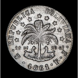 Bolivia 8 Soles 1861 FJ KM138.6 Ag MB/EXC
