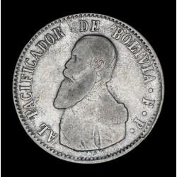 Bolivia 1 Melgarejo 1865 FP KM146 Ag MB