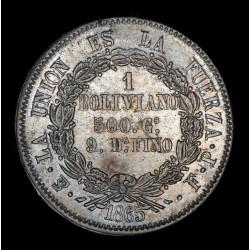 Bolivia 1 Boliviano 1865/5 FP KM152.1 Ag EXC