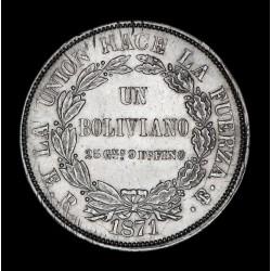Bolivia 1 Boliviano 1871 ER KM155.3 Ag EXC-