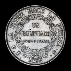 Bolivia 1 Boliviano 1872 FE KM155.4 Ag EXC