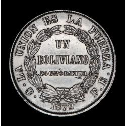 Bolivia 1 Boliviano 1872 FE KM160.1 Ag EXC
