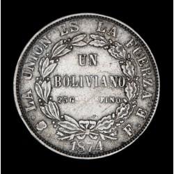 Bolivia 1 Boliviano 1874 FE KM160.1 Ag MB