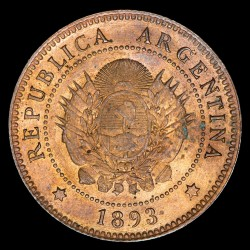 Argentina 1 Centavo 1893 CJ48.6 Cobre EXC+