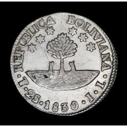 Bolivia 2 Soles 1830/20 JL KM95a Ag EXC-