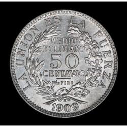 Bolivia 50 Centavos 1909 H KM177 Ag UNC