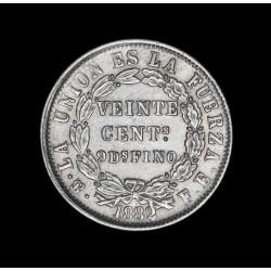 Bolivia 20 Centavos 1882 FE KM159.1 Ag EXC