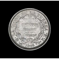 Bolivia 20 Centavos 1885 FE KM159.2 Ag EXC