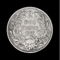 Chile 2 Pesos 1927 KM172 Ag MB+