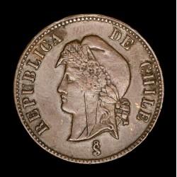 Chile 2 1/2 Centavo 1886 KM150 Cobre EXC-