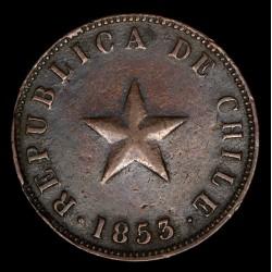 Chile 1 Centavo 1853 KM127 Cobre MB/MB+