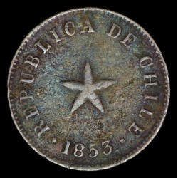 Chile 1/2 Centavo 1853 KM126 Cobre MB