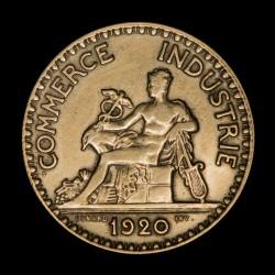 Francia 2 Francos 1920 KM877 Camara de Comercio Bronce EXC-