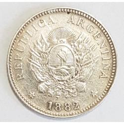 Argentina 20 Centavos 1882 CJ:19.1 Con Errores de Acuñacion