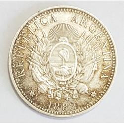 Argentina 20 Centavos 1882 CJ:19.2 Con Error de Acuñacion