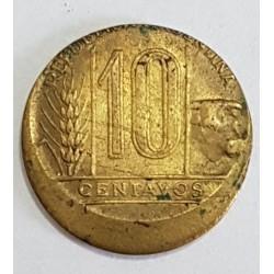 """Argentina 10 Centavos 1942/50 Con Error De Acuñacion """"Descentrada"""""""