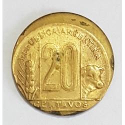 """Argentina 20 Centavos 1948 Con Error de Acuñacion """"Descentrada"""""""