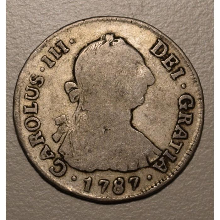 Potosi 2 Reales 1787 PR CJ:65.16 Carlos III