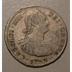 Rara Potosi 2 Reales 1793 PR CJ:78.5 Doble Golpe en Anverso Carlos IIII