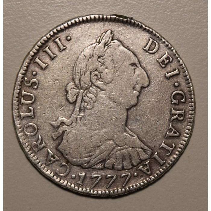 Potosi 4 Reales 1777 PR CJ:64.6 Carlos III Con Resto de Soldadura en Canto