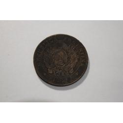 Argentina 2 Centavos 1889 Sobrante de metal debajo de la fecha