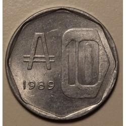Argentina 10 Australes 1989 CJ:378.2 Reverso Medalla