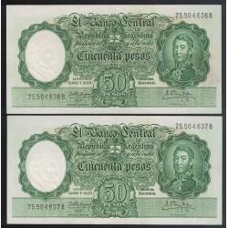 B2005a 50 Pesos Leyes 12.962 y 13.571 1962 Numeros Correlativos