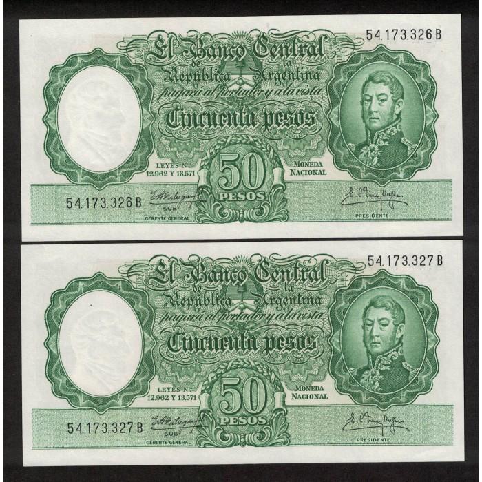 B2004 50 Pesos Leyes 12.962 y 13.571 1961 Numeros Correlativos UNC