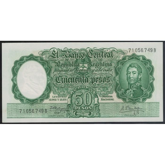 B2004a 50 Pesos Leyes 12.962 y 13.571 1962 UNC