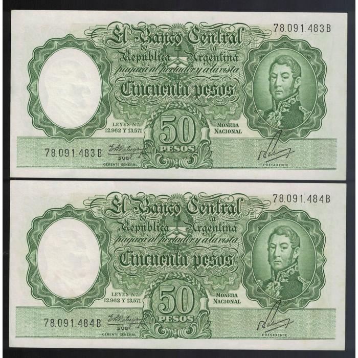 B2005a 50 Pesos Leyes 12.962 y 13.571 1962 UNC