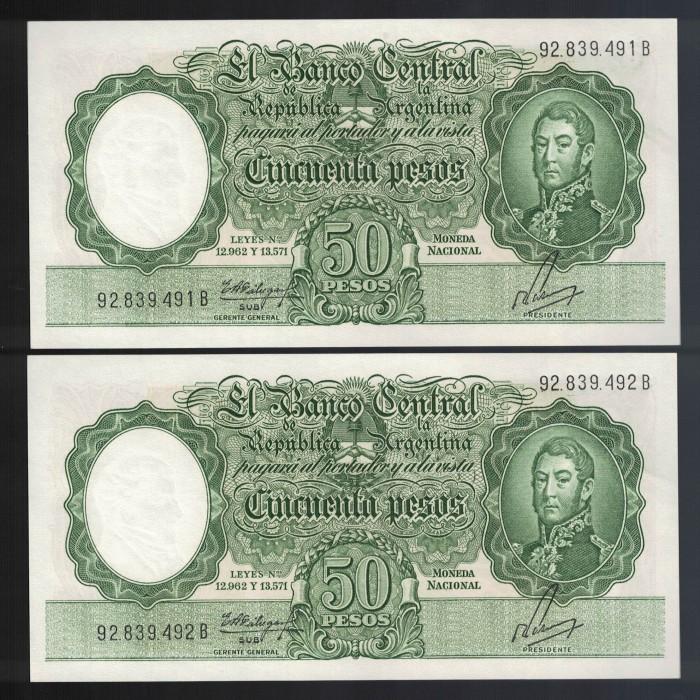 B2008 Filigrana A 50 Pesos Leyes 12.962 y 13.571 1963 Numeros Correlativos