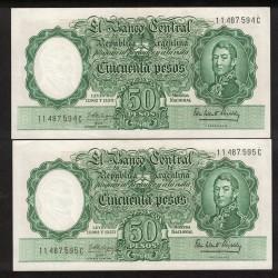 B2013 50 Pesos Leyes 12.962 y 13.571 1963 Numeros Correlativos UNC