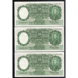 B2014 50 Pesos Leyes 12.962 y 13.571 1964 Numeros Correlativos UNC