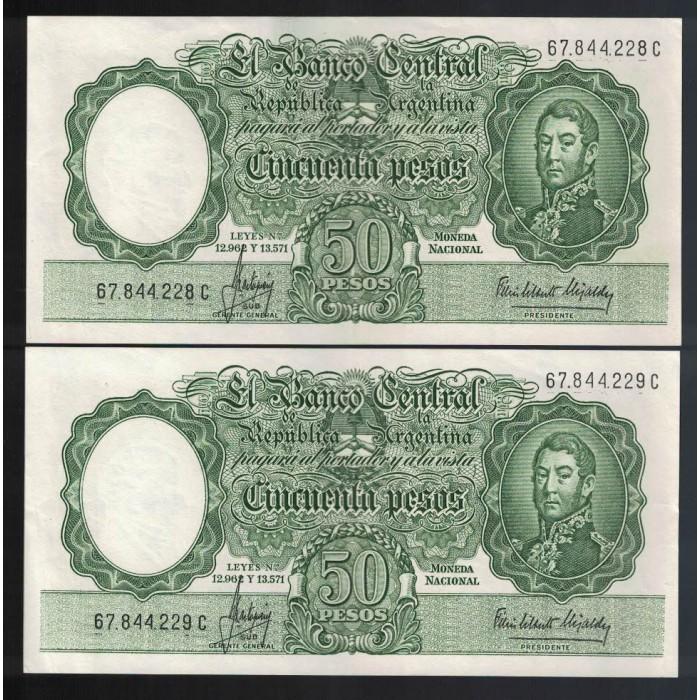 B2017 Filigrana A 50 Pesos Leyes 12.962 y 13.571 1966 Numeros Correlativos UNC