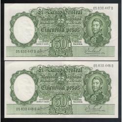 B2024 Filigrana C 50 Pesos Leyes 12.962 y 13.571 1967 Numeros Correlativos