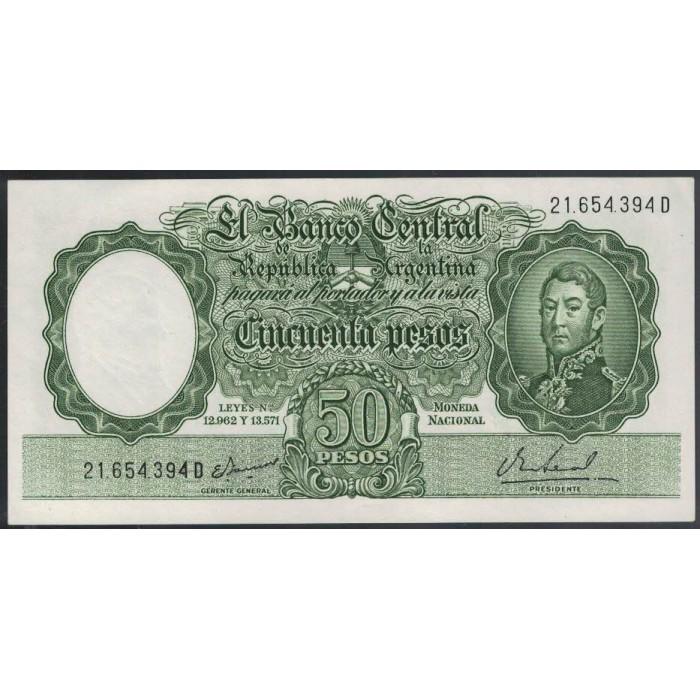 B2025 Filigrana A 50 Pesos Leyes 12.962 y 13.571 1968 UNC