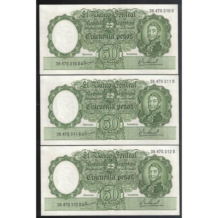 B2027 50 Pesos 1968 Numeros Correlativos